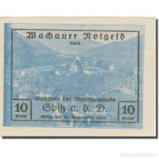 Billetes extranjeros: BILLETE, AUSTRIA, WACHAUER NOTGELD - SPITZ - KIRCHE N.Ö. GEMEINDE, 10 HELLER. Lote 222090348