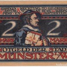Billetes extranjeros: ALEMANIA NOTGELD 2 MARK 1921 MUNSTER GUARDIAS DISPARANDO AL MOTIN LOTE 190. Lote 222226230