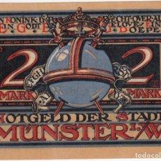 Billetes extranjeros: ALEMANIA NOTGELD 2 MARK 1921 MUNSTER LA GENTE PRESIONA CONTRA EL REY - LOTE 193. Lote 222228157
