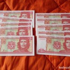 Billetes extranjeros: BANCO CENTRAL DE CUBA. 3 PESOS. AÑO 2004. (SIN CIRCULAR 10 BILLETES NUMERACION CONSECUTIVA). Lote 222284258