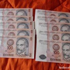 Billetes extranjeros: BANCO CENTRAL RESERVA DEL PERU. 100 INTIS. 1987. (SIN CIRCULAR 10 BILLETES NUMERACION CONSECUTIVA). Lote 222284543