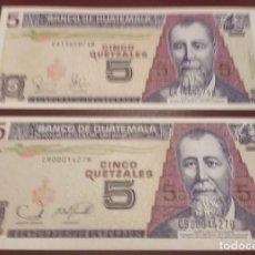 Billetes extranjeros: GUATEMALA : 5 QUETZALES(LOTE DE 2. 2003-2006) SC.UNC. PK.# LOTE DE 2. Lote 222291042