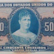 Billetes extranjeros: BRASIL BILLETE 50 CRUZEIROS 1961. Lote 222295921