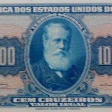 Billetes extranjeros: BRASIL BILLETE 100 CRUZEIROS 1964. Lote 222295948
