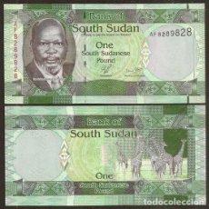 Billetes extranjeros: SUDAN DEL SUR. 1 POUND 2011. S/C. FAUNA, GIRAFAS. PICK 5.. Lote 297265793