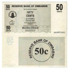 Notas Internacionais: ZIMBABWE - 50 CENTS DE 2007 - SIN CIRCULAR. Lote 222487965