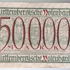 Billetes extranjeros: ALEMANIA. WURTTEMBERG. 50000 MARCOS 1923. Lote 222741913