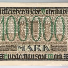 Billetes extranjeros: ALEMANIA. WÜRTTEMBERG. 100000 MARCOS 1923. Lote 222742165