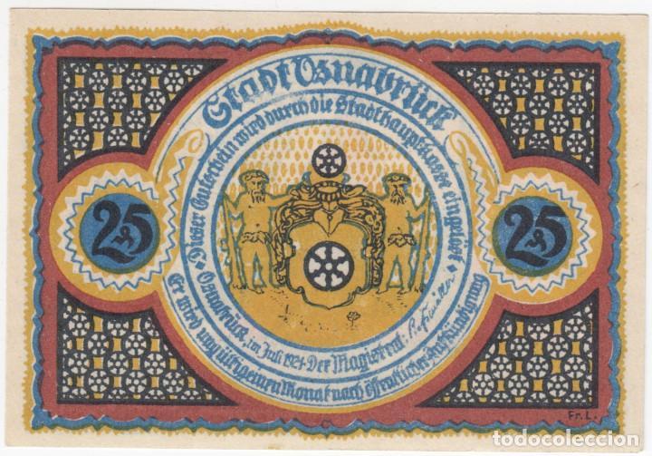 Billetes extranjeros: ALEMANIA Notgeld 25 pfennig 1921 OSNABRÜCK - Torre Pernick - Lote 360 - Foto 2 - 222742291