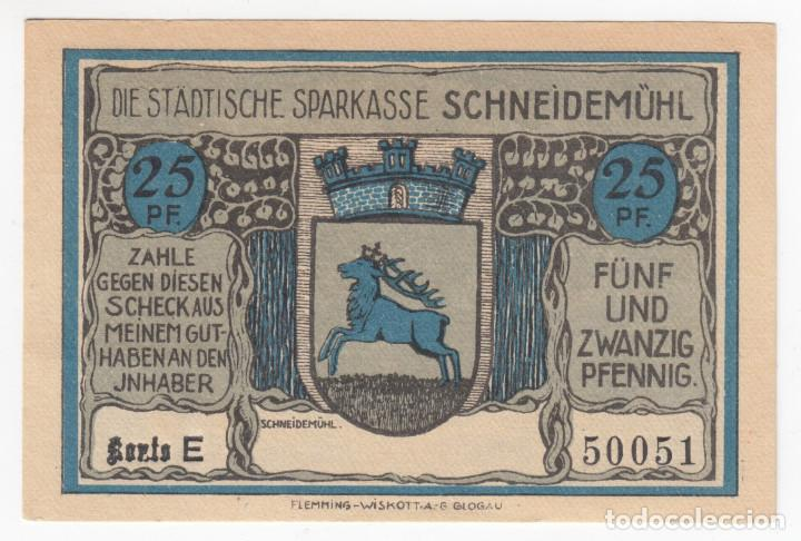 Billetes extranjeros: ALEMANIA Notgeld 25 pfennig 1921 SCHNEIDEMÜHL Iglesia catolica antigua Lote 361 - Foto 2 - 222744418