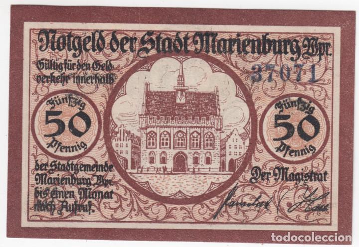 ALEMANIA NOTGELD 50 PFENNIG 1921 MARIENBURG - PALACIO Y CABALLERO - LOTE 368 (Numismática - Notafilia - Billetes Extranjeros)