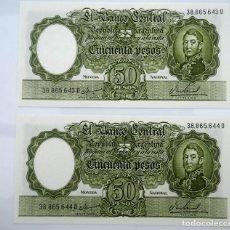 Billetes extranjeros: PAREJA CORRELATIVA DE 50 PESOS ARGENTINA 1962 (SF). SC. PICK 276. Lote 222976178