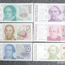 Billetes extranjeros: ARGENTINA LOTE 6 BILLETES DE 1, 5, 10, 50, 100, 500, AUSTRALES. 1985- 1990 (SF). Lote 223748496