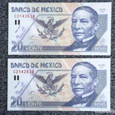 Billetes extranjeros: MÉXICO/MÉJICO. PAREJA CORRELATIVA DE 20 PESOS. AÑO 1999. PICK 106D. Lote 224488161