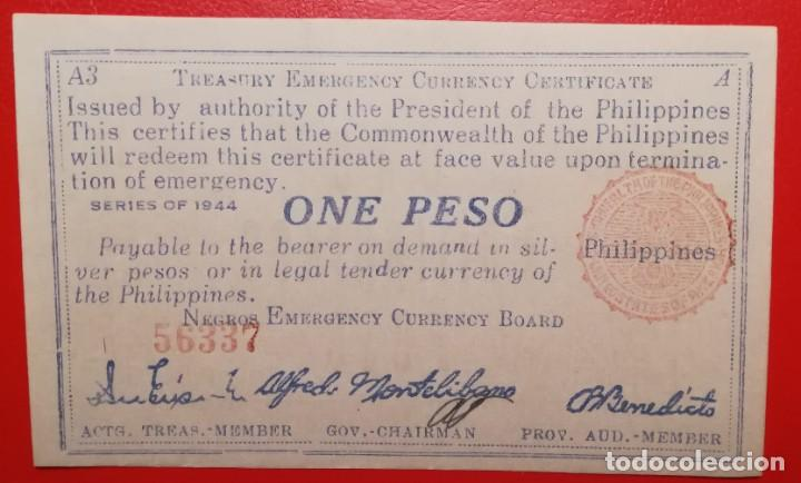 BILLETE DE FILIPINAS 1 PESO, EPOCA 2ª GUERRA MUNDIAL (Numismática - Notafilia - Billetes Internacionales)