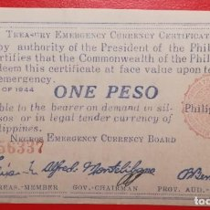 Billetes extranjeros: BILLETE DE FILIPINAS 1 PESO, EPOCA 2ª GUERRA MUNDIAL. Lote 225901648