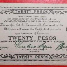 Billetes extranjeros: BILLETE DE FILIPINAS 20 PESO, EPOCA 2ª GUERRA MUNDIAL. Lote 225902130