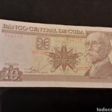 Billetes extranjeros: BILLETE 10 PESOS REPÚBLICA CUBA 2016. Lote 225906030