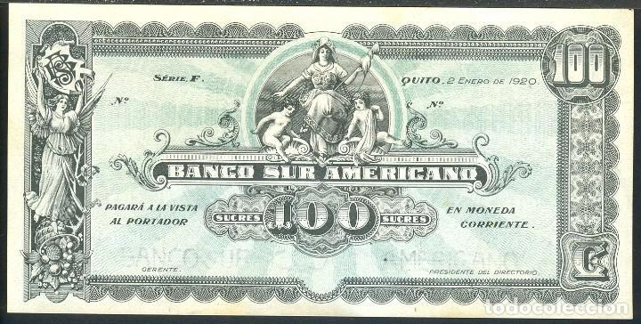 CMC ECUADOR 100 SUCRES 1920 PICK S254 SC- (Numismática - Notafilia - Billetes Internacionales)