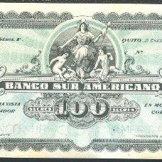Banconote internazionali: CMC ECUADOR 100 SUCRES 1920 PICK S254 SC-. Lote 226019273