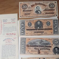 Billetes extranjeros: BILLETES DE BROMA-DE COLECCIONISMO_GUERRA DE SECESIÓN AMERICANA. CON LICENCIA Y SOBRE ORIGINALES. Lote 226685950