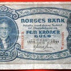 Billetes extranjeros: NORUEGA 5 CORONAS 1944 SEGUNDA GUERRA MUNDIAL VER FOTOS. Lote 227731765