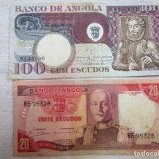 Billetes extranjeros: ANGOLA LOTE 2 BILLETES 20 ESCUDOS 1972 + 100 ESCUDOS 1973 - CORREO ORDINARIO 0.75€+INFO. Lote 228177490