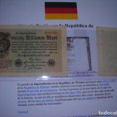 Billetes extranjeros: DOS BILLETES ALEMANES S/C DE 20 MILLONES DE MARCOS 1923. Lote 228586405
