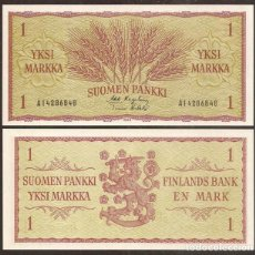 Billetes extranjeros: FINLANDIA. 1 MARKKA 1963. PICK 98. S/C. VARIANTE DE FIRMAS.. Lote 295863423
