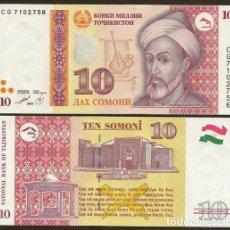 Billetes extranjeros: TAJIKISTAN. 10 SOMONI 1999(2000). PICK 16. S/C.. Lote 262004970