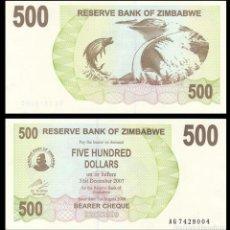 Billetes extranjeros: ZIMBABWE: 500 DOLARES.. Lote 230575595