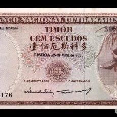 Billetes extranjeros: TIMOR 100 ESCUDOS 1963 PICK 28A FIRMA 1 SC UNC MANCHAS. Lote 270394788