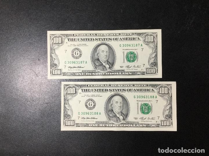 PAREJA DE BILLETES CORRELATIVA ,100 DÓLARES , DOLLAR , USA , 1993 , SERIE G , SIN CIRCULAR , NUEVOS. (Numismática - Notafilia - Billetes Internacionales)
