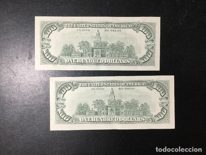 Billetes extranjeros: PAREJA DE BILLETES CORRELATIVA ,100 DÓLARES , DOLLAR , USA , 1993 , SERIE G , SIN CIRCULAR , NUEVOS. - Foto 2 - 231195300