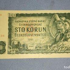 Billetes extranjeros: BILLETE DE CHECOSLOVAQUIA 100 CORONAS AÑO 1961. Lote 231380525