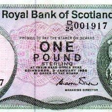 Billetes extranjeros: BILLETE DE ESCOCIA ONE POUND 1985. Lote 231750205