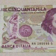 Banconote internazionali: 50.000 LIRAS ITALIANAS DETURPADAS. Lote 231995585