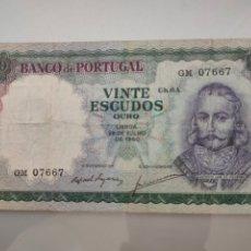 Billetes extranjeros: BILLETE 20 ESCUDOS OURO 1960 PORTUGAL CAPICÚA. Lote 232012170
