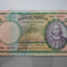 Billetes extranjeros: BILLETE 20 ESCUDOS OURO 1959 PORTUGAL. Lote 232013590