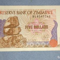 Billetes extranjeros: BILLETE DE ZIMBABWE FIVE DOLLARS AÑO 1980. Lote 232194880