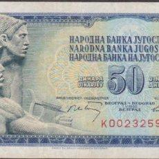 Billetes extranjeros: BILLETES - YUGOSLAVIA - 50 DINARA 1968 - SERIE K - PICK-83A (MBC). Lote 233763540