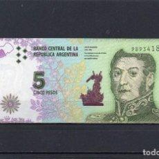 Billetes extranjeros: ARGENTINA 2015, 5 PESOS, P-359A, SC-UNC, 2 ESCANER. Lote 296777338