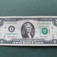 Billetes extranjeros: BILLETE 2 DÓLARES USA. Lote 234470610