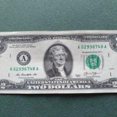 Billetes extranjeros: BILLETE 2 DÓLARES USA. Lote 234470835