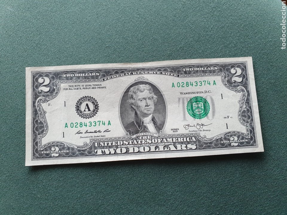 BILLETE 2 DÓLARES USA (Numismática - Notafilia - Billetes Extranjeros)