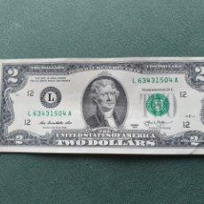 Billetes extranjeros: BILLETE 2 DÓLARES USA. Lote 234472010