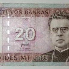 Billetes extranjeros: S-54 BILLETE 20 LIETUVOS 2007 LITUANIA. CIRCULADOS. Lote 234802960