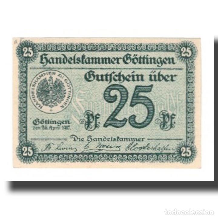 BILLETE, ALEMANIA, GÖTTINGEN HANDELSKAMMER, 25 PFENNIG, TEXTE, 1917 (Numismática - Notafilia - Billetes Extranjeros)