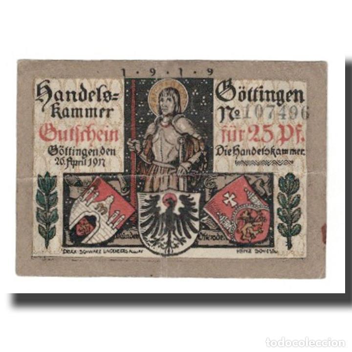Billetes extranjeros: Billete, Alemania, Göttingen Handelskammer, 25 Pfennig, personnage 1, Undated - Foto 2 - 234897145