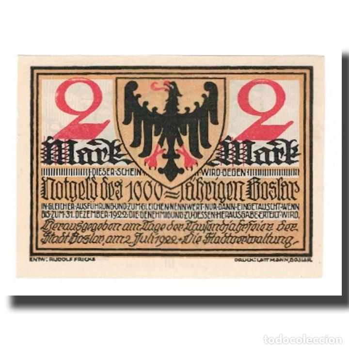 BILLETE, ALEMANIA, GOSLAR STADT, 2 MARK, PERSONNAGE 2, 1922, 1922-07-02, EBC (Numismática - Notafilia - Billetes Extranjeros)